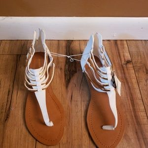 White and gold zipper up the back sandals